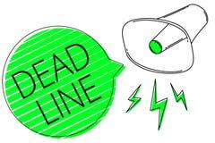 Sinal do texto que mostra a linha inoperante Período da foto de tempo conceptual por que algo deve ser terminado ou realizado ilustração stock