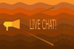 Sinal do texto que mostra Live Chat Conversação conceptual da foto na comunicação móvel dos multimédios do Internet ilustração stock