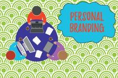 Sinal do texto que mostra a marcagem com ferro quente pessoal Prática conceptual da foto dos povos que introduzem-se no mercado i ilustração royalty free