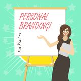 Sinal do texto que mostra a marcagem com ferro quente pessoal Processo conceptual da foto de criar um nome profissional reconhec? ilustração royalty free