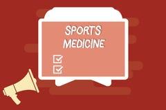 Sinal do texto que mostra a medicina de esportes O tratamento da foto e a prevenção conceptuais dos ferimentos relacionaram-se ao ilustração stock