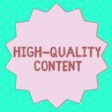 Sinal do texto que mostra o índice de alta qualidade O Web site conceptual da foto é contrato informativo útil à audiência ilustração royalty free