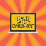 Sinal do texto que mostra o ambiente da segurança da saúde Proteção ambiental e segurança conceptuais da foto no monitor do portá imagens de stock