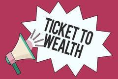 Sinal do texto que mostra o bilhete à riqueza Passagem conceptual da roda da fortuna da foto ao futuro bem sucedido e mais brilha ilustração stock