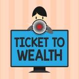 Sinal do texto que mostra o bilhete à riqueza Passagem conceptual da roda da fortuna da foto ao futuro bem sucedido e mais brilha ilustração royalty free