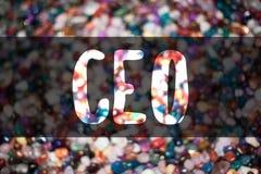 Sinal do texto que mostra o CEO Doces conceptuais ide dos doces de Blurry do controlador do presidente de Head Boss Chairperson d imagem de stock royalty free