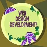Sinal do texto que mostra o desenvolvimento do design web Web site tornando-se da foto conceptual para hospedar através dos ental ilustração royalty free
