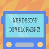 Sinal do texto que mostra o desenvolvimento do design web Web site tornando-se da foto conceptual para hospedar através da parte  ilustração stock
