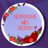 Sinal do texto que mostra o design web responsivo A criação conceptual do página da web da foto que utiliza disposições flexíveis ilustração do vetor