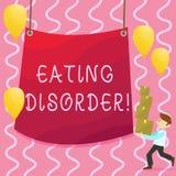 Sinal do texto que mostra o distúrbio alimentar Foto conceptual caracterizada levar anormal ou perturbado do homem dos hábitos  ilustração do vetor