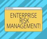 Sinal do texto que mostra o gerenciamento de riscos empresariais Riscos conceptuais do analysisage da foto e para aproveitar opor ilustração stock