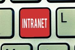 Sinal do texto que mostra o intranet Foto conceptual local ou rede de comunicações restrita a especialmente privada fotografia de stock royalty free
