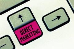 Sinal do texto que mostra o marketing direto Negócio conceptual da foto de vender produtos ou serviços ao público foto de stock royalty free