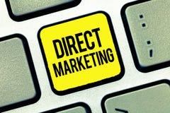 Sinal do texto que mostra o marketing direto Negócio conceptual da foto de vender produtos ou serviços ao público imagem de stock