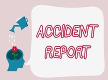 Sinal do texto que mostra o relatório de acidente Formulário conceptual da foto A que é detalhes completados do registro de um ev ilustração stock