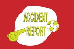 Sinal do texto que mostra o relatório de acidente Formulário conceptual da foto A que é detalhes completados do registro de um ev ilustração do vetor