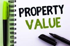 Sinal do texto que mostra o valor da propriedade Avaliação conceptual da foto da avaliação residencial de Real Estate do valor es fotografia de stock