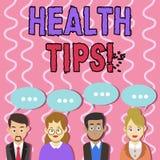 Sinal do texto que mostra pontas da saúde Estado conceptual da foto de grupo mental e social físico completo dos conselhos do bem ilustração royalty free