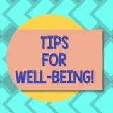 Sinal do texto que mostra pontas para o bem estar Conselhos conceptuais da foto a indicar de ser placa saudável ou feliz confortá ilustração do vetor