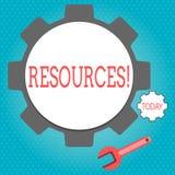 Sinal do texto que mostra recursos Pessoal conceptual dos materiais do dinheiro da foto e outros ativos necessários para dirigir  ilustração stock
