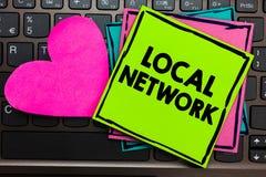 Sinal do texto que mostra a rede local A conexão conceptual do interruptor de LAN Radio Waves DSL Boradband do intranet da foto f ilustração stock