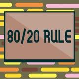 Sinal do texto que mostra a regra 80 20 Princípio conceptual de Pareto da foto efeitos de 80 por cento vindos de 20 causas ilustração stock