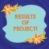 Sinal do texto que mostra resultados dos projetos A consequência ou o resultado conceptual da foto de determinadas etapas das açõ ilustração stock