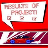 Sinal do texto que mostra resultados dos projetos Consequência ou resultado conceptual da foto de determinado carro das etapas da ilustração stock