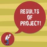 Sinal do texto que mostra resultados dos projetos Consequência ou resultado conceptual da foto de determinado homem das etapas da ilustração royalty free