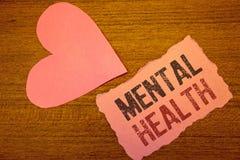 Sinal do texto que mostra a saúde mental Fotos conceptuais psicológicas e bem estar emocional da circunstância de uma pessoa imagem de stock royalty free