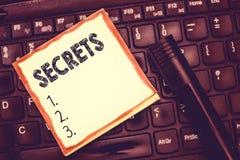 Sinal do texto que mostra segredos A foto conceptual manteve o desconhecido por outro Unrevealed classificado privado confidencia fotografia de stock royalty free