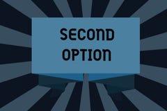 Sinal do texto que mostra a segunda opção Foto conceptual Fiddle Not seguinte uma oportunidade alternativa seguinte da prioridade ilustração stock