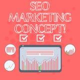 Sinal do texto que mostra Seo Marketing Concept Estratégia conceptual da foto de que execute para satisfazer clientes para precis imagens de stock