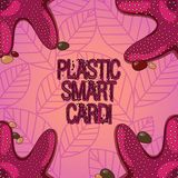 Sinal do texto que mostra Smart Card plástico Símbolo conceptual da segurança da foto que encaixou a foto inteligente da estrela  ilustração royalty free