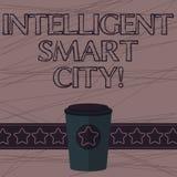 Sinal do texto que mostra Smart City inteligente Foto conceptual a cidade que tem um café mais esperto da infraestrutura 3D da en ilustração royalty free