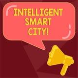 Sinal do texto que mostra Smart City inteligente Foto conceptual a cidade que tem um megafone mais esperto da infraestrutura da e ilustração royalty free