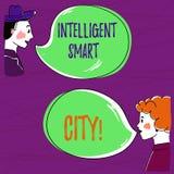 Sinal do texto que mostra Smart City inteligente Foto conceptual a cidade que tem uma mão mais esperta da infraestrutura da energ ilustração royalty free