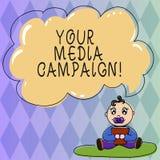 Sinal do texto que mostra sua campanha dos meios Esforço de mercado conceptual da foto para reforçar a assistência com o bebê do  ilustração stock