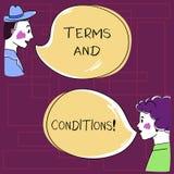 Sinal do texto que mostra termos e condições Detalhe conceptual da foto as regras que se aplicam para carregar uma determinada mã ilustração do vetor