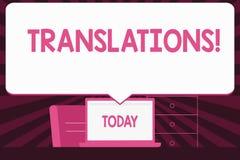 Sinal do texto que mostra traduções O processo escrito ou impresso da foto conceptual de traduzir a voz do texto das palavras anu ilustração do vetor