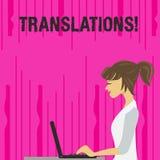 Sinal do texto que mostra traduções Processo escrito ou impresso da foto conceptual de traduzir a foto da voz do texto das palavr ilustração do vetor