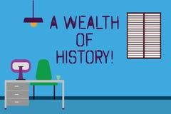 Sinal do texto que mostra uma riqueza da história Tradições antigas Work Space das culturas das histórias antigas valiosas concep ilustração do vetor
