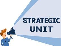 Sinal do texto que mostra a unidade estratégica O centro de lucro conceptual da foto centrou-se sobre o oferecimento e o segmento imagens de stock royalty free