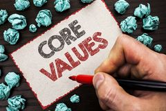 Sinal do texto que mostra valores do núcleo Componentes conceptuais do código da responsabilidade das éticas conceptuais dos prin foto de stock royalty free