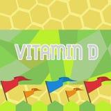 Sinal do texto que mostra a vitamina D Benefícios conceptuais da foto da exposição do raio de sol e de determinada placa solúvel  ilustração stock