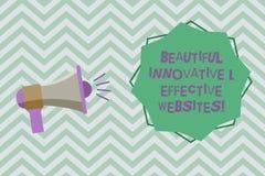 Sinal do texto que mostra Web site inovativos e eficazes bonitos Megafone atrativo bem cozido dos Web pages da foto conceptual ilustração stock