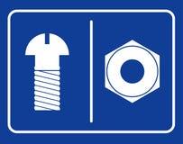 Sinal do toalete do parafuso e da porca Toalete público do símbolo Labuta do homem do sinal ilustração stock