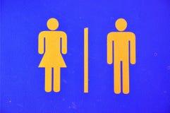Sinal do toalete no couro Imagem de Stock