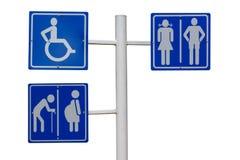 Sinal do toalete público para o homem, a fêmea, o grávido, velho, e Imagens de Stock