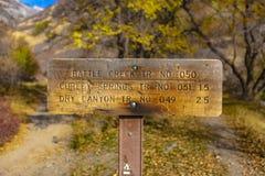 Sinal do trailhead de Battle Creek para a fuga foto de stock royalty free